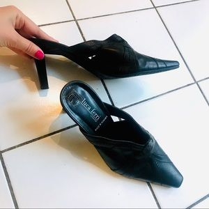 Leather Slip On Heels Size 36 NEW